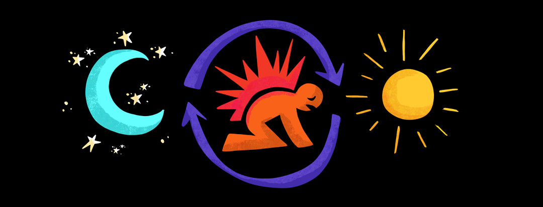 A moon and stars is pictured on the left, followed by a person with Axial spondyloarthritis bent over with pain spikes emanating from their back, located inside rotating arrows, to the right of them is a sun