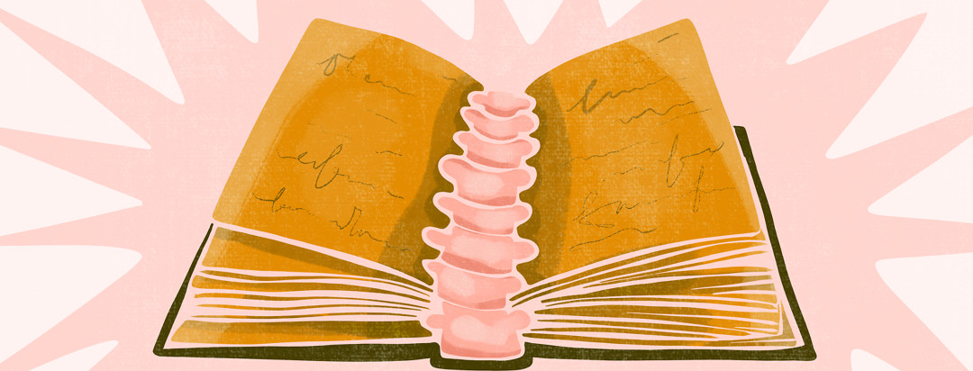 An open book of unexplained axial spondyloarthritis symptoms with vertebrae forming along the spine of the book.