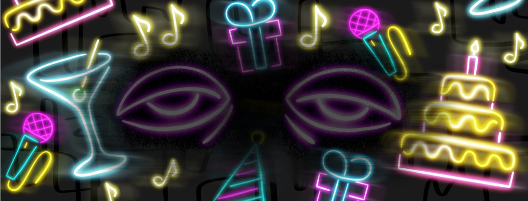 A pair of fatigued eyes due to axial spondyloarthritis float in the center of birthday neon lights including a cake, martini glass, presents, and music notes.