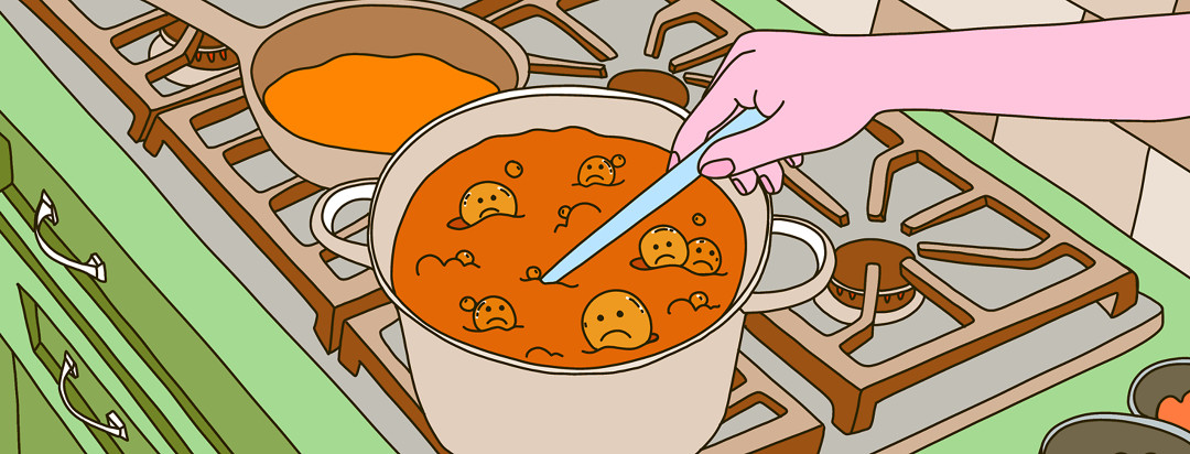 A hand stirs a pot of gravy on a stovetop with bubbles with sad faces coming out of the gravy.
