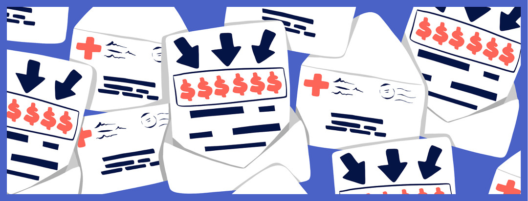 Open medical bills with past due large arrows pointing to dollar signs.