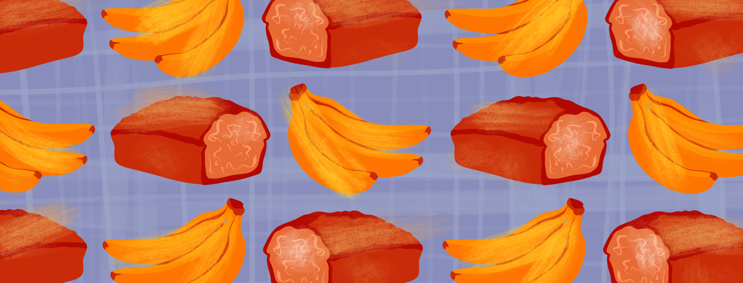 A pattern of bananas and bread for an anti inflammatory recipe for spondyloarthritis