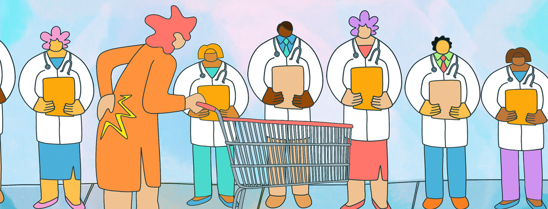 A woman clutching her back, pushing a shopping cart eyes up a line of doctors dismissing her axial spondyloarthritis.