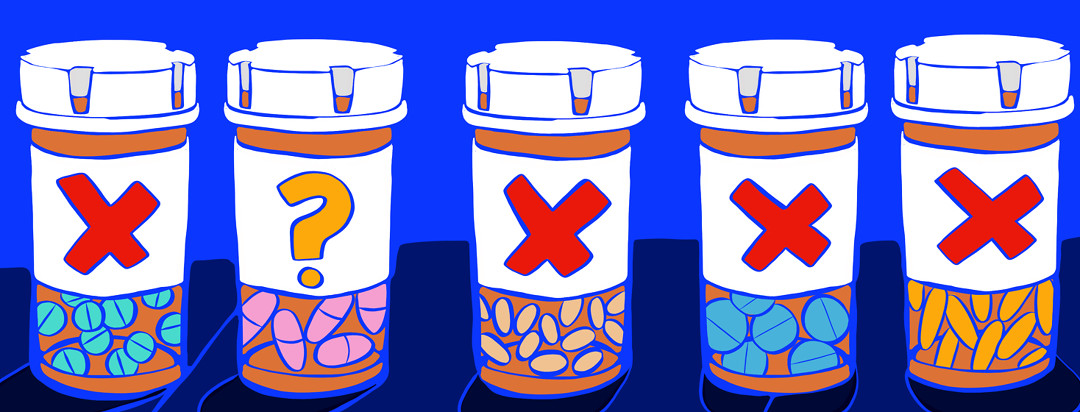 A lineup of prescription pill bottles for axial spondyloarthritis all showing X's on the front, while one has a large question mark.