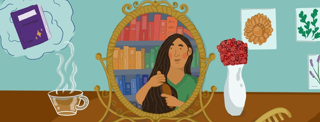 A person with axial spondyloarthritis brushing their hair in the mirror, surrounding them are books, flowers, and things that bring them calm and joy.