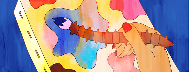 A hand holding a paintbrush shaped like a spine to a colorful canvas illustrating their axial spondyloarthritis