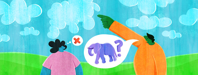 A man points at a cloud in the sky, and a speech bubble with an elephant and a question mark comes from his mouth. A woman with axial spondyloarthritis looks blankly at him and has a thought bubble showing a red x.