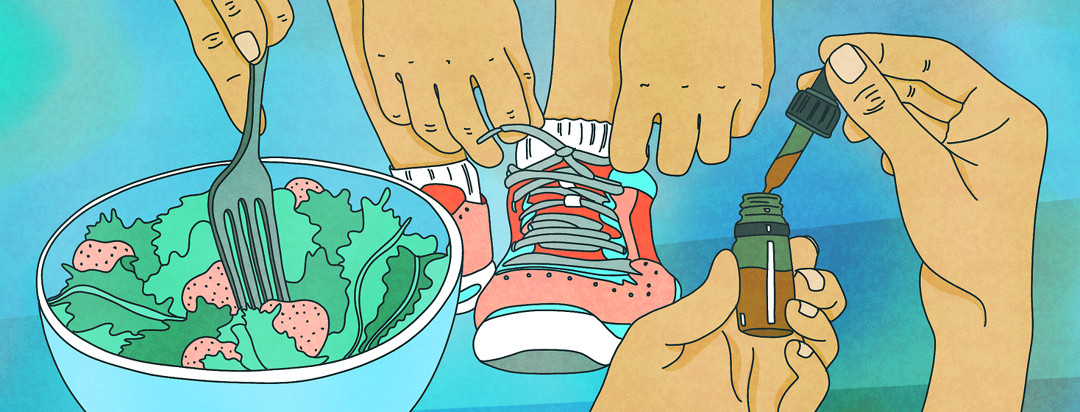 A person's hands are shown plunging a fork into a salad, tying running shoes, and squeezing a drop from an supplemental oil vile, all used to cope with axial spondyloarthritis