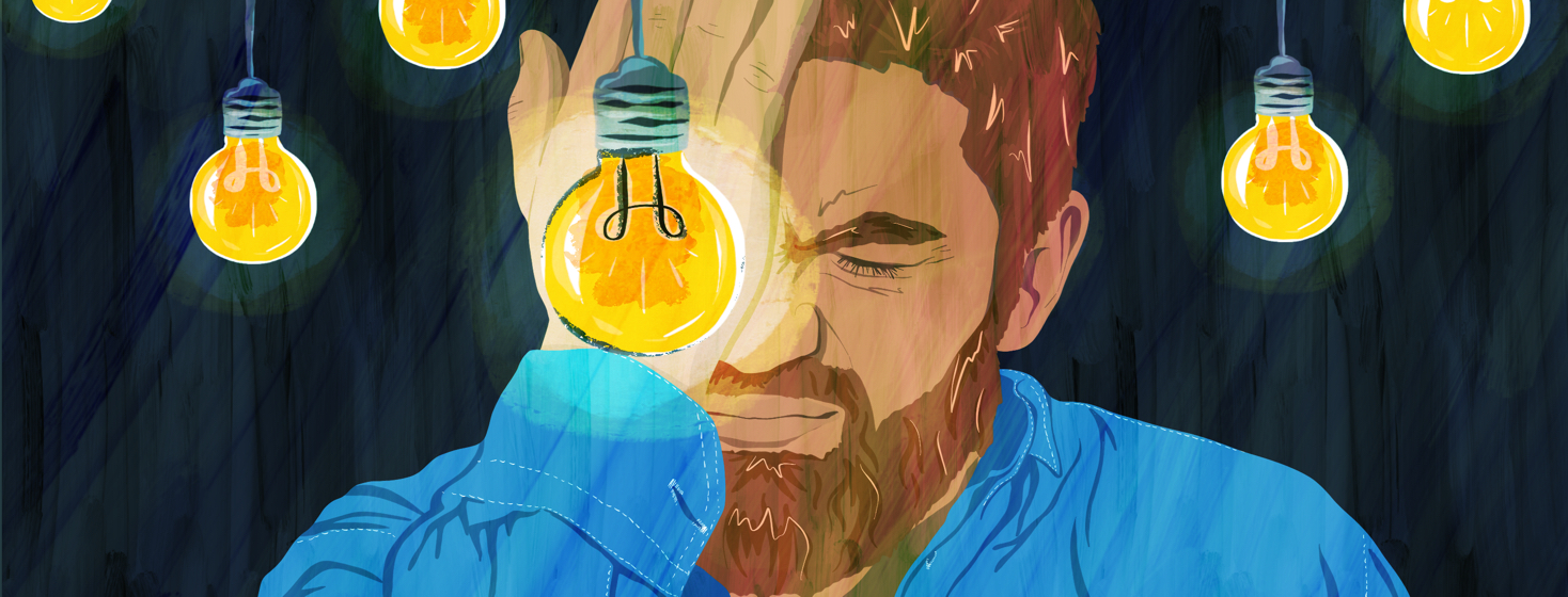 A man with uveitis and axial spondyloarthritis winces and holds his eye while bright lightbulbs descend all around him.