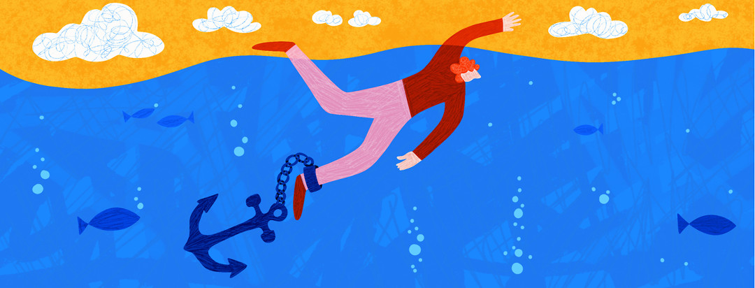 A man with axial spondyloarthritis is desperately trying to reach the surface of the water while an anchor weighs his ankle down.