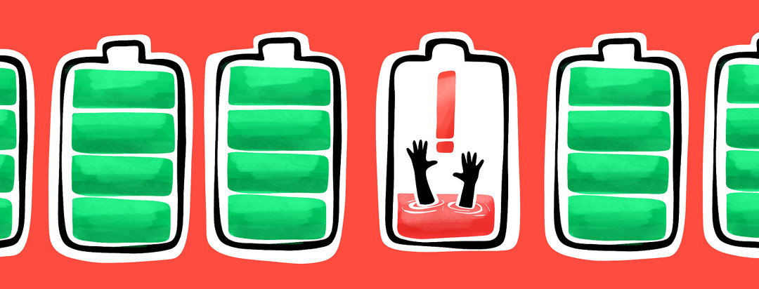 A lineup of batteries with full green bars, and one with one red bar, an exclamation point, and two hands reaching out of the red bar as if drowning.