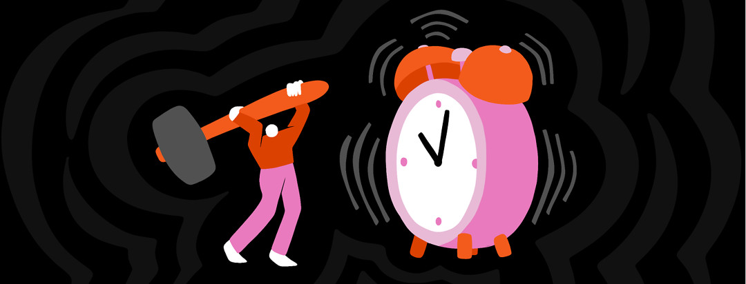 A person with axial spondyloarthritis hoists a hammer up to smash a large ringing alarm clock.