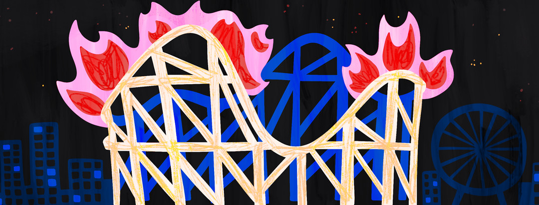 A roller coaster with flames at every peak.
