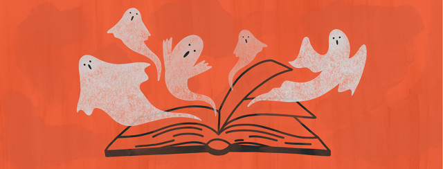Ghosts are emerging from the pages of an open book.
