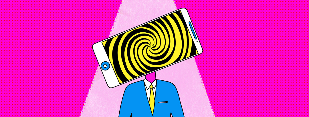 A person with a smartphone as their head. The screen of the smartphone has a hypnotic spiral.