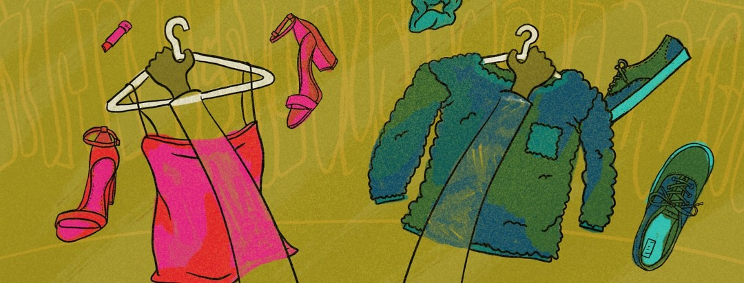 Person holding up 2 different outfits, one pink, slinky outfit and one comfortable blue outfit