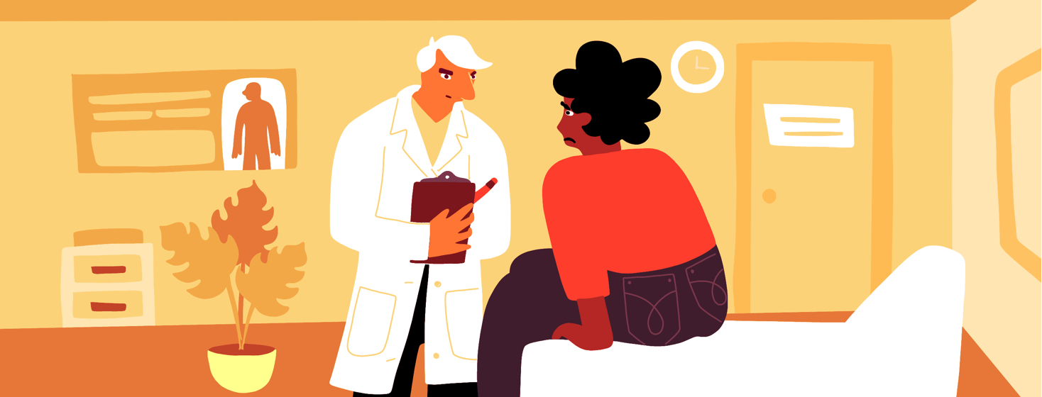 A white male doctor looks scornfully at a fearful black woman sitting on a patient bed at a doctor's office.