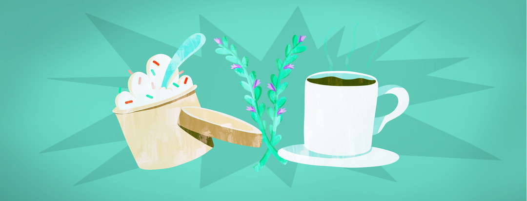 Three featured items including a pint of ice cream, lavender sprigs, and a cup of tea.