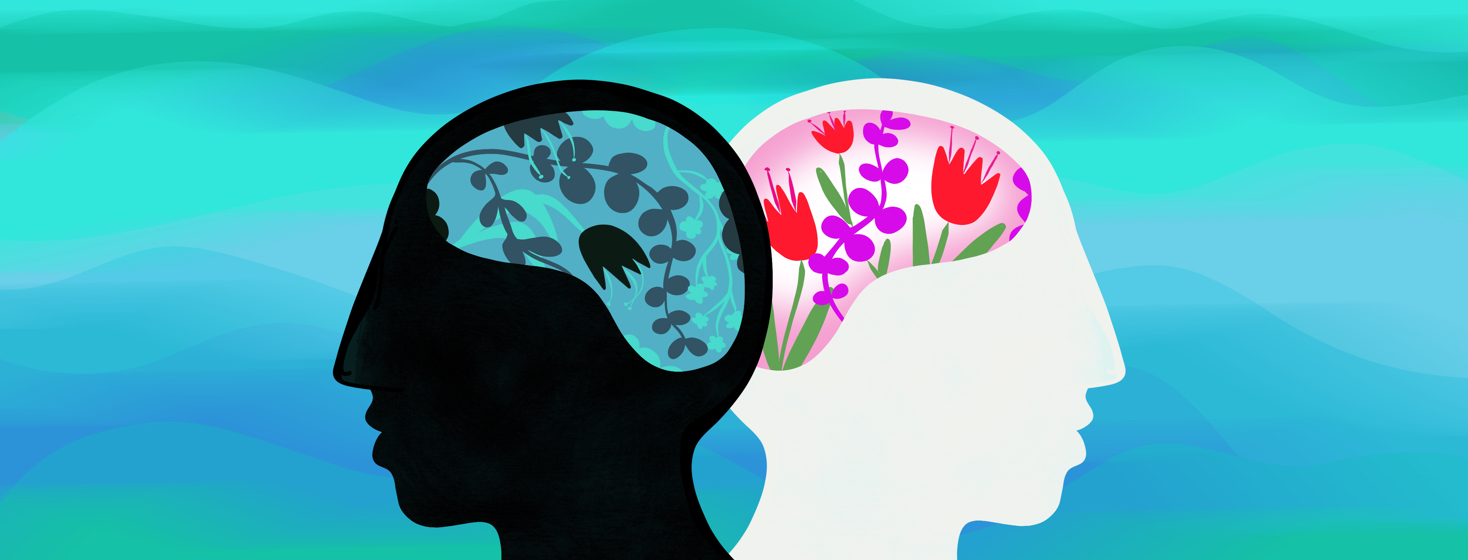 Two heads are shown overlapping - one has a brain filled with blue and wilted flowers, the other has a brain filled with vibrant and beautiful flowers.