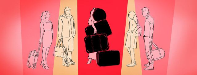 People with minimal baggage gather around a woman carrying multiple suitcases and struggling.