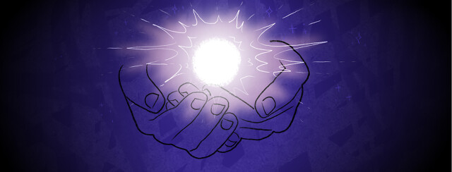 A glowing orb floating above open cupped hands.