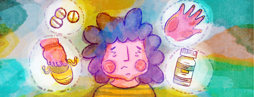 A woman with swollen cheeks is surround by thought bubbles containing swollen hands, feet, and prednisone pills.