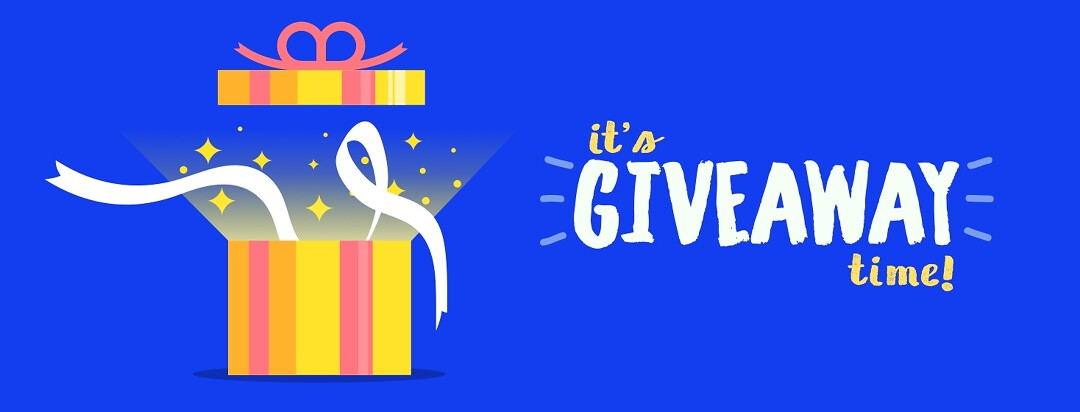 It's giveaway time! An image of a gift box is opened with a magical twinkle.