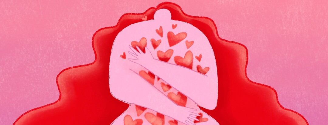 a woman full of hearts hugging herself