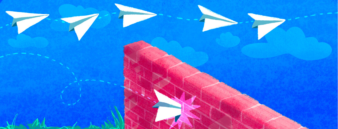 A paper airplane smashes into a brick wall as multiple paper airplanes float effortlessly over the wall.