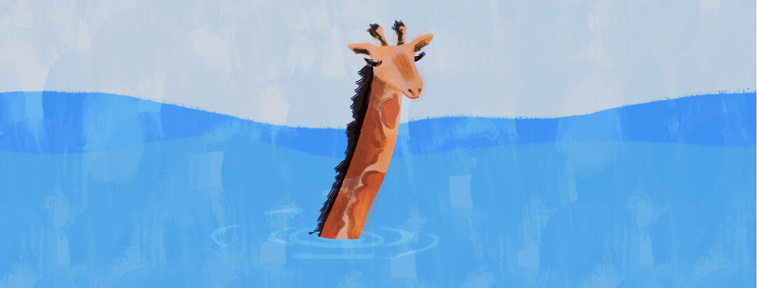 Giraffe is shown submerged in water from the mid-neck down.