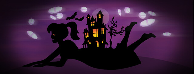 A woman lies down with a haunted house sprouting from her back and various OTC pills floating around.