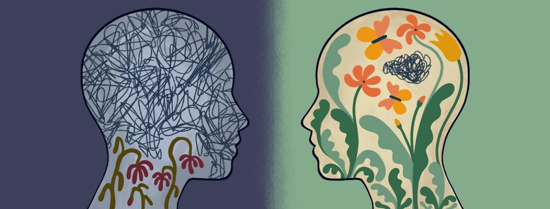 Two heads facing each other. The one on the left has some dying flowers that are being held down by fatigue. The one on the right has a whole thriving garden, with a bit of fatigue coexisting within.