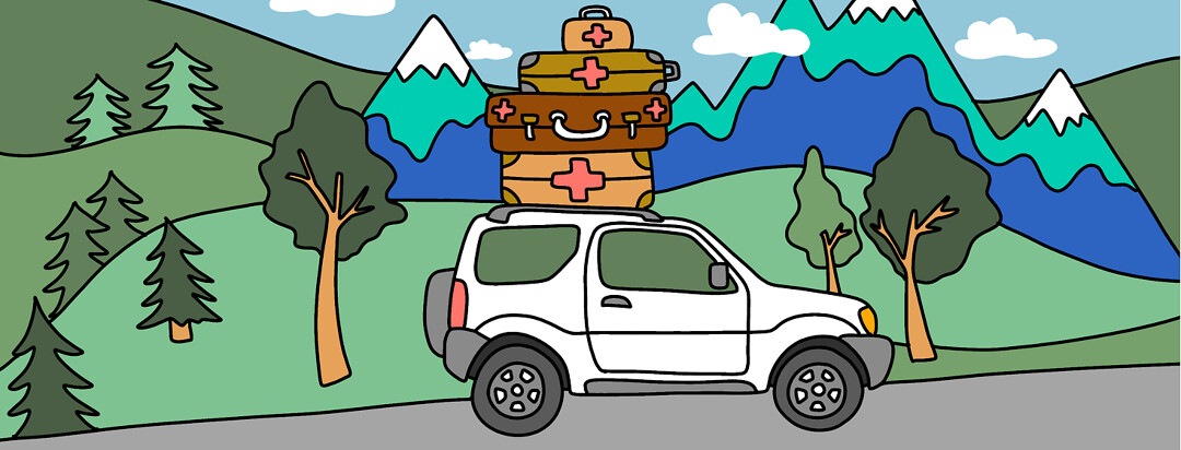 An SUV with luggage packed on the roof - each bag showing a red cross with mountains and trees in the background.