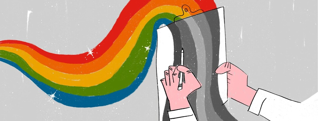 A colorful rainbow flowing to and over a doctor's clipboard and turning gray as it reaches the board.