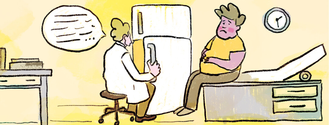 A doctor rummages through a refrigerator while a patient sits on a hospital bed looking embarrassed.