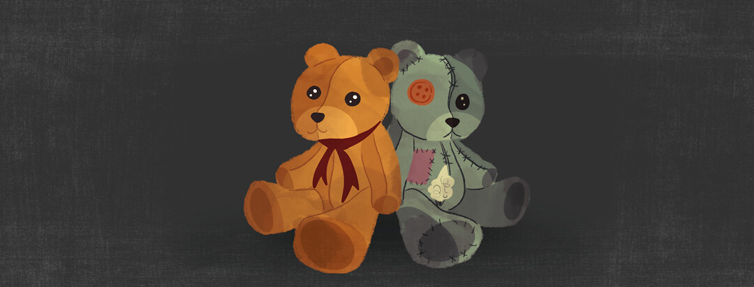 Two teddy bears sit back to back - on is seemingly normal and happy while the other is patched, stitched, and a bit worn down.
