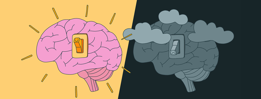 Two brains are shown with light switches. One brain is turned on and has a happy face on the switch while the other is turned off with clouds surrounding it and a sad face.
