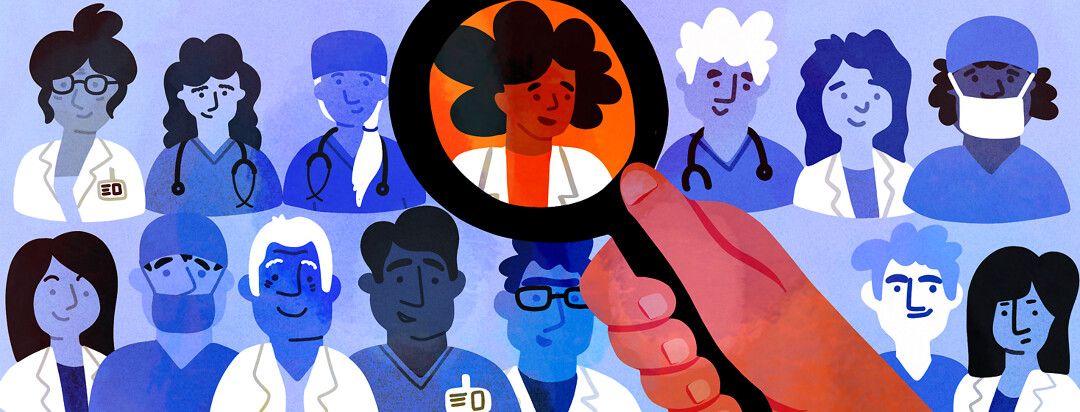 A hand holding a magnifying glass hovers over a lineup of friendly and diverse doctors.