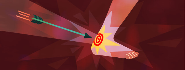An arrow flies towards a target located directly on someone's achilles heel.
