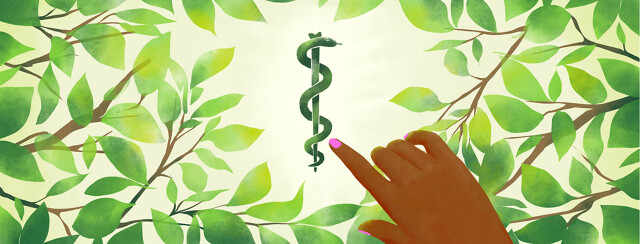 A hand points to a snake medical symbol frames by natural leaves.
