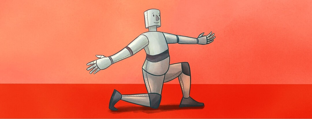 a tin man doing a lunging stretch