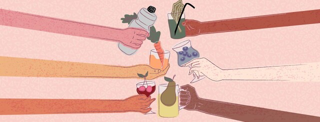Arms of all different skin tones clink, toast, glasses of fruit juice and water.