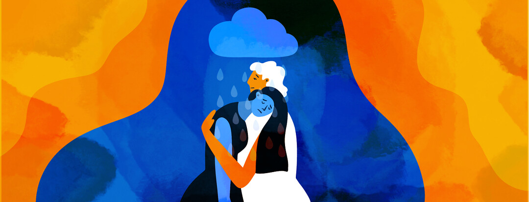 A caregiver embraces someone looking depressed under a raincloud.
