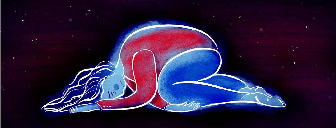 A woman lies curled up, exhausted, with a starry sky scene behind her.